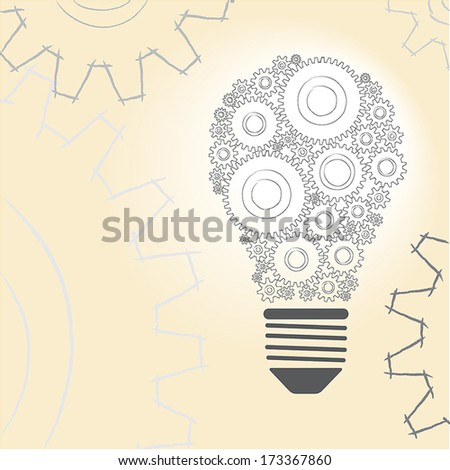 Sketch of light  bulb and gear with colorful background.  - stock vector