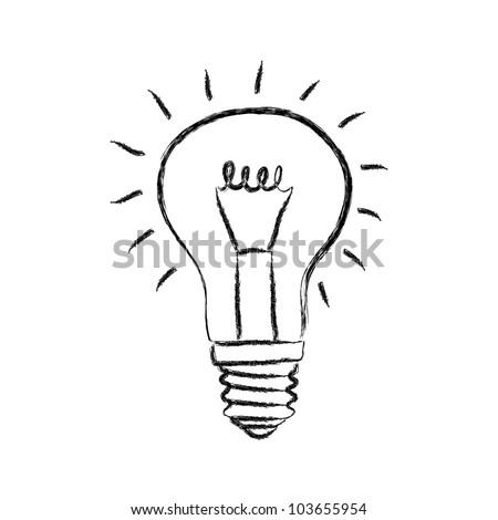 Sketch of light bulb on white background - stock vector