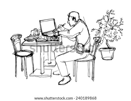 sketch of man at the lunch in cafe - stock vector