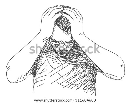 Sketch Man Holding His Head Hand Stock Vector (Royalty Free) 311604680 - Shutterstock
