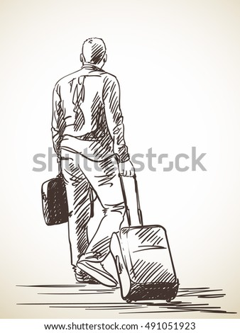Sketch of man walking with suitcase, Hand drawn Vector illustration