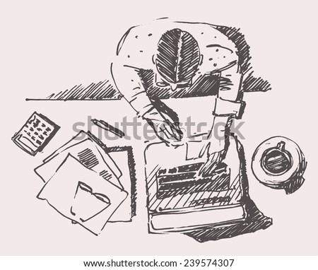Sketch of man with computer, office work. Hand drawn illustration. Top view