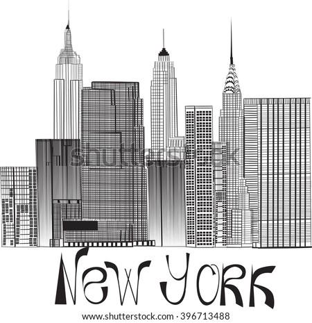 sketch of Manhattan New York. EPS10 - stock vector
