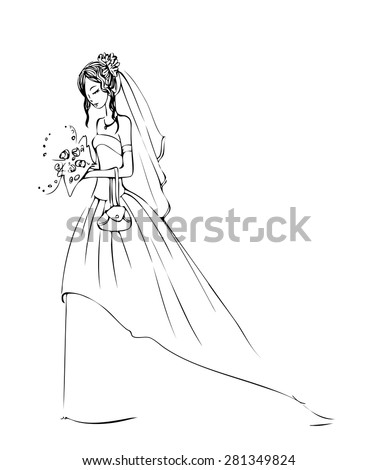 Sketch of model in bride dress with bouquet.
