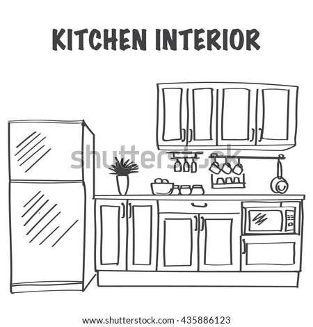 Sketches Of Modern Kitchen Utensils : Sketch of modern kitchen interior with cabinets, kitchen tools and ...