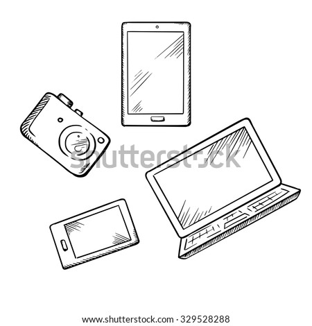 Sketch of modern smartphone, tablet pc, laptop and digital photo camera, for electronic devices theme design - stock vector