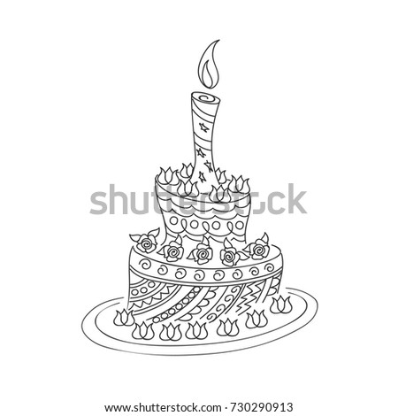 Sketch monochrome cake birthday card children stock vector sketch of monochrome cake for birthday card or children and adult coloring book isolated outline sciox Image collections