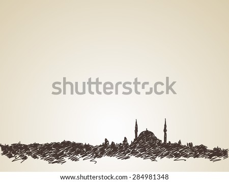 Sketch of mosque silhouette skyline, Hand drawn illustration - stock vector