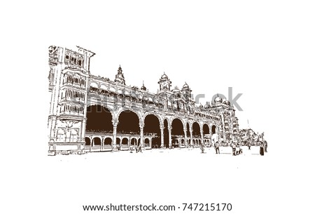 Sketch of mysore palace is a historical palace and a royal residence at mysore in