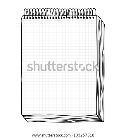 Sketch of notebook. Vector illustration with hand drawn leaf of notebook. Clip art. Notepad with clear page - stock vector
