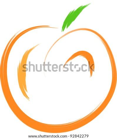 sketch of orange peach fruit - stock vector