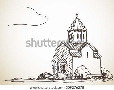 Sketch of Orthodox Church. Hand drawn illustration - stock vector
