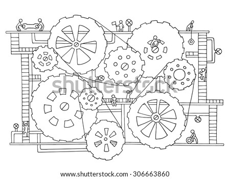 Sketch of people teamwork, gears, production. Doodle cartoon mechanism with machinery and cogwheels. Hand drawn vector illustration for business design isolated on white. - stock vector