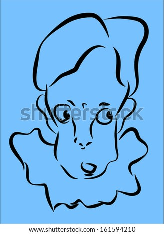 Sketch of Pierrot's head, eyes look to the right  - stock vector