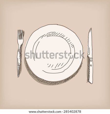 Sketch of plate, knife, fork. Hand drawn illustration Vector, Isolated - stock vector