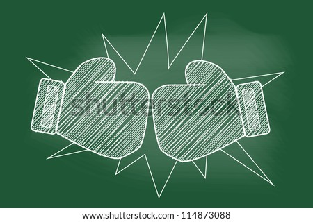 sketch of Red boxing glove on blackboard - stock vector