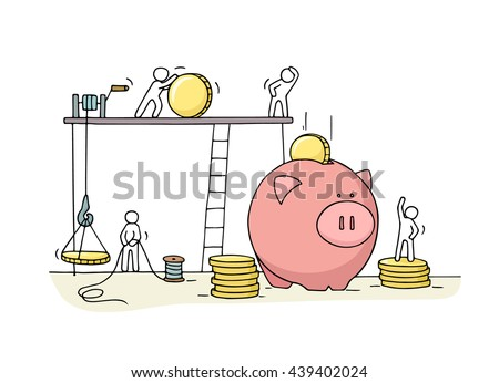 Sketch of save coins in moneybox  with working little people. Doodle cute miniature of economy money. Hand drawn cartoon vector illustration for business design and infographic. - stock vector