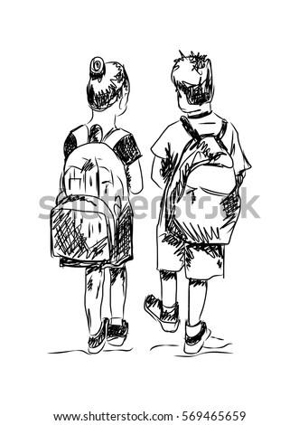 sketch school boy girl going school stock vector 569465659
