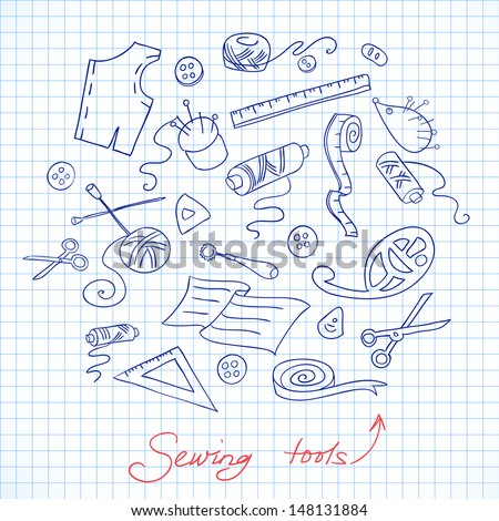 Sketch of sewing tools on a checkered paper