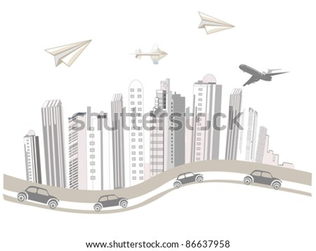 Sketch of skyscrapers in the city - stock vector