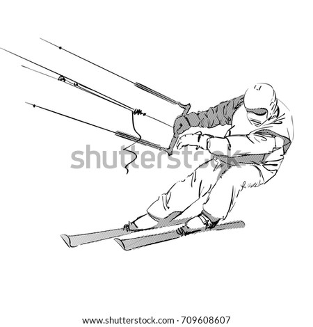 Sketch of Snowkiter Man on White. Vector Illustration of a Kiteskier. Realistic Freehand Drawing. Snowkiting or Kite Skiing. Extreme Winter Sports. Sporty Boy. Sketched Skier Rider. Alpine Skiing.