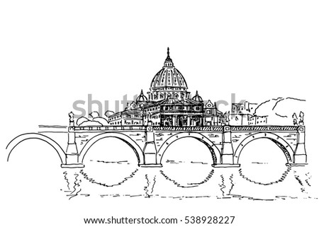 sketch of St. Peter's Basilica in Rome, Italy. Retro style.