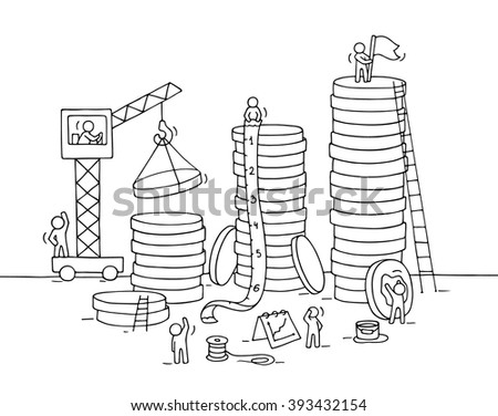 Sketch of stack of coins with working people, crane. Doodle cute miniature of construction golden coins and preparing for the big profit. Hand drawn cartoon vector illustration for business design. - stock vector