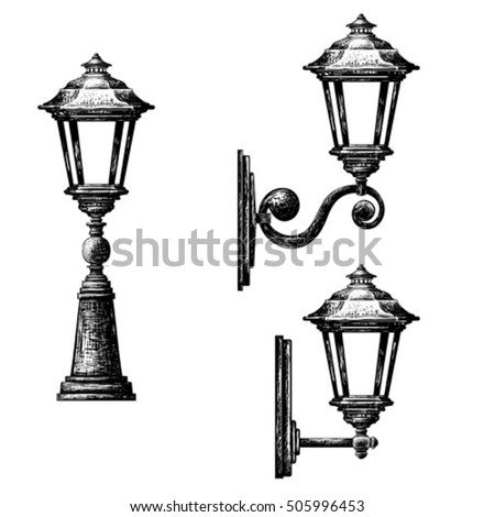Sketch of street light , lamppost , candlestick