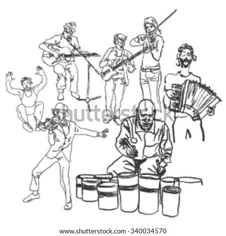 sketch of street performers - stock vector