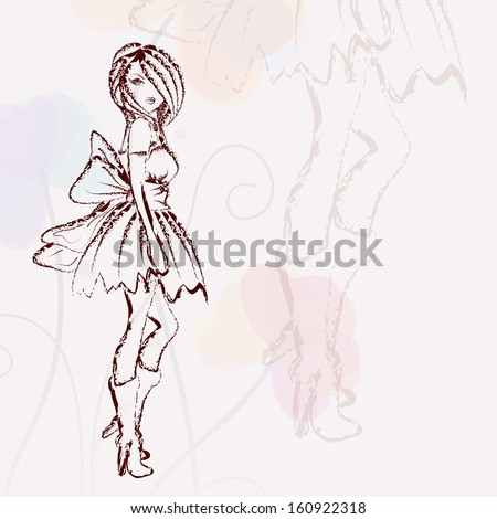 Sketch of stylish young girl on abstract background. - stock vector
