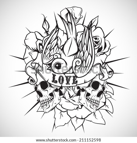 Sketch of tattoo with skull, swallow and roses. Vector. - stock vector
