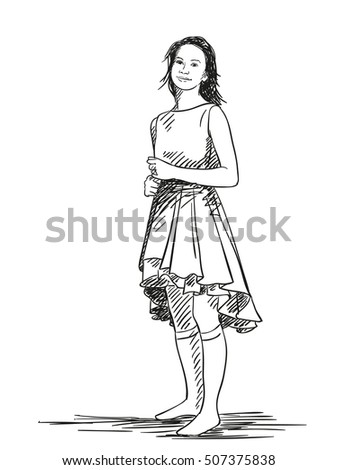 Sketch of teenage girl in beautiful dress Hand drawn vector illustration