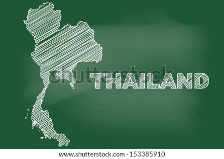 sketch of Thailand map on blackboard - stock vector