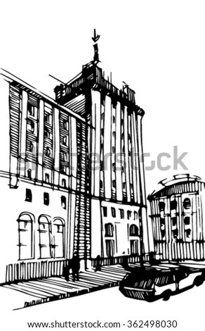 Sketch of the city. Sketch of a skyscraper. - stock vector