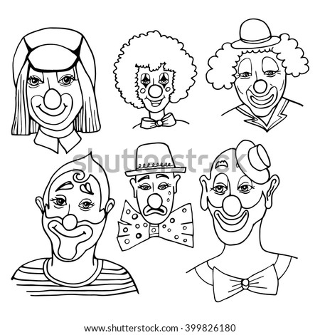 sketch of the clown head on white background, isolated. set Doodle portrait of a clown - stock vector