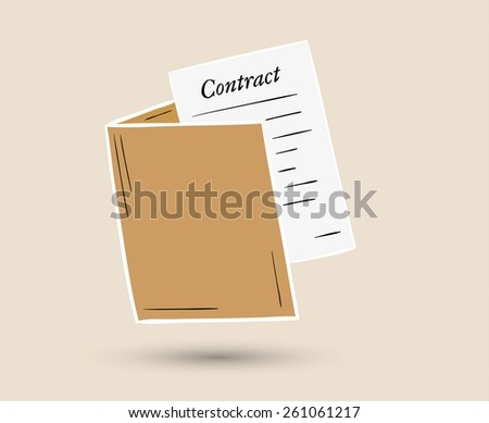 sketch of the folder with contract paper