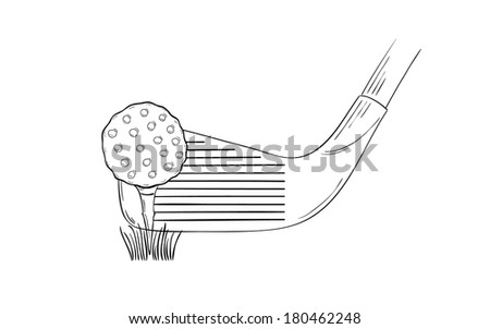 sketch of the golf ball and golf club on white background, isolated - stock vector