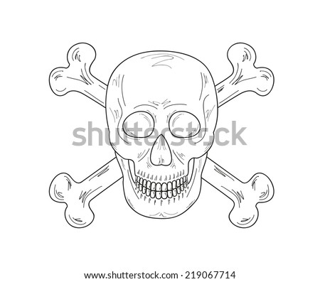 sketch of the skull and bones on white background, vector
