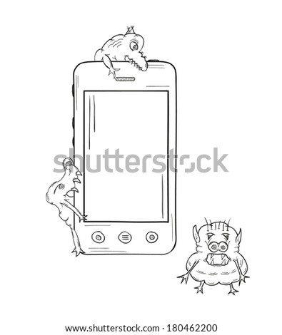 sketch of the smartphone and three viruses on white background, isolated - stock vector