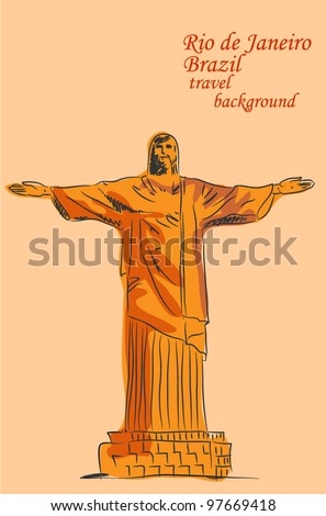 Sketch of the statue of Jesus in Brazil, the background - stock vector