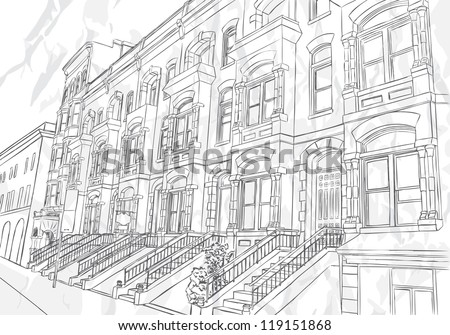 Sketch of the street on white background - stock vector