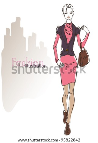 Sketch of the walking business woman - stock vector