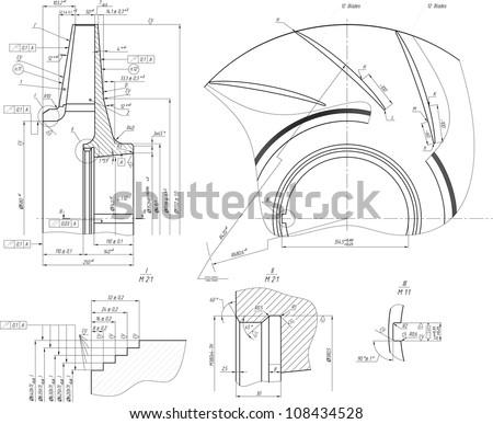 Sketch of the wheel of a centrifugal pump. Vector EPS10 - stock vector