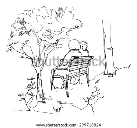 sketch of two person sitting on a bench in a park