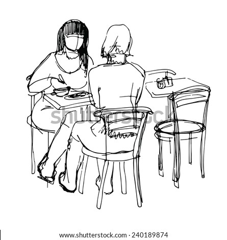 sketch of  two woman at the lunch