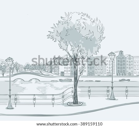 Sketch of urban panorama. Part of city district with river and front. Minimum color, no gradient. Vector hand drawing. - stock vector