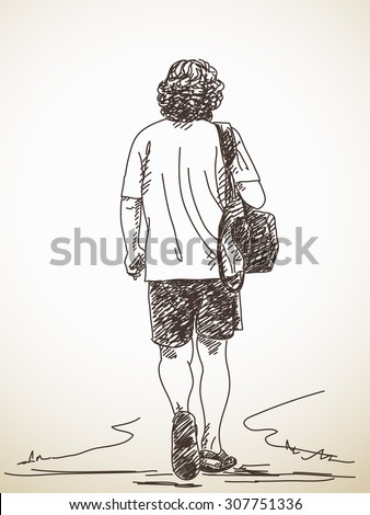 Sketch of walking man back view hand drawn vector illustration