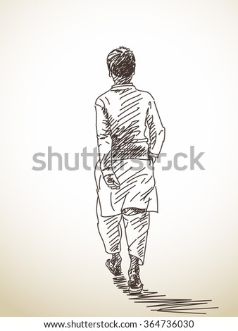 Boy Walking Away From Girl Drawing