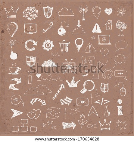 Sketch of web design icons hand drawn on brown paper - stock vector