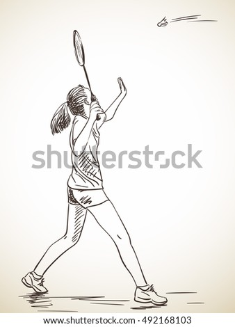 Sketch of woman badminton player, Hand drawn vector illustration